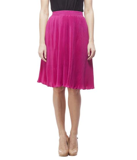 buy peptrends pink polyester pleated skirt at best