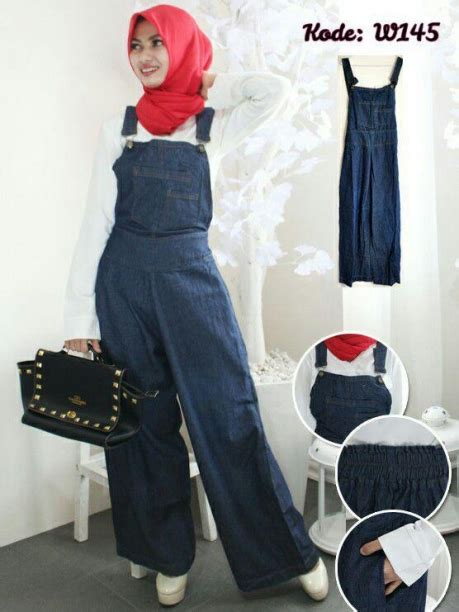 Best Seller Gamis Maxi Overall Kancing Rok Panjang Dress Soft overall kulot navy w145 baju style ootd