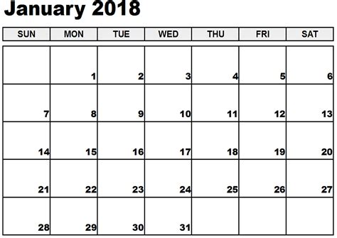 Calendar Templates by January 2018 Monthly Calendar Printable Templates