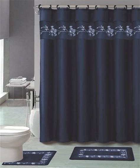 22 Piece Bath Accessory Set Navy Blue Flower Bathroom Rug Navy Blue Bathroom Accessories