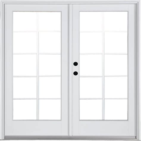 Masterpiece Patio Door Reviews Masterpiece 58 3 4 In X 79 1 4 In Fiberglass White Right Inswing Hinged Patio Door With