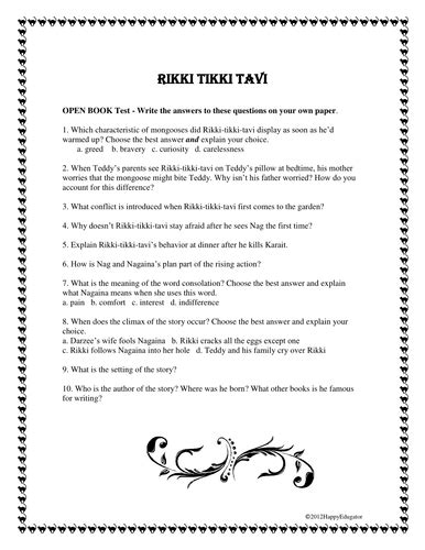 Rikki Tikki Tavi Comprehension Quiz by Happyedugator
