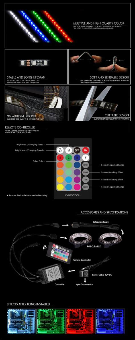 Deepcool Rgb 350 Color Led deepcool 350 rgb led lighting kit remote buy now jw