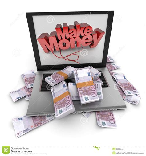 Free Sign Up Make Money Online - make money online euros stock photo image of computer 35381246
