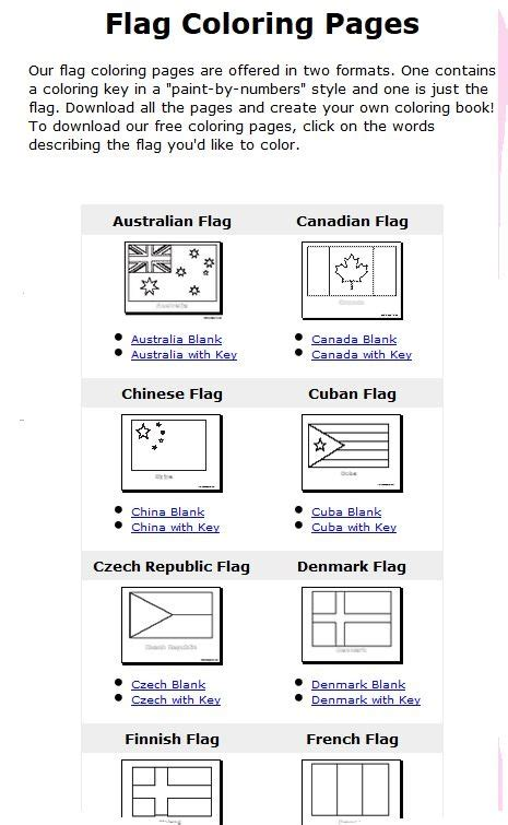 Flag Coloring Pages With Key | flags of the world coloring pages with color key flags