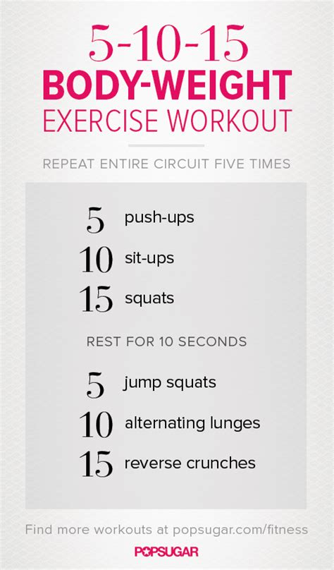 printable weight workout no equipment necessary