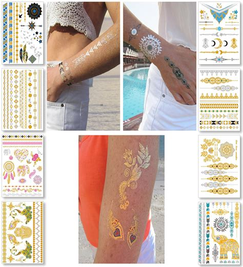 henna tattoo gold amazon metallic temporary tattoos for