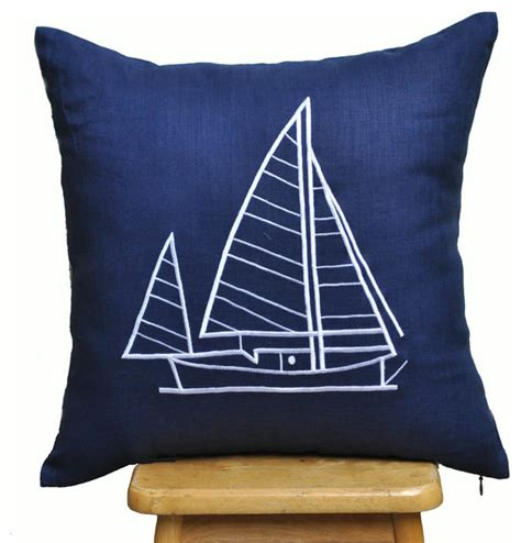 sailboat throw pillow cover cottage pillow cover