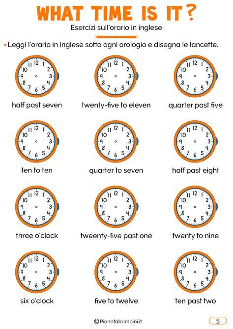interno it verifica domande on line l orario in inglese esercizi per bambini da stare