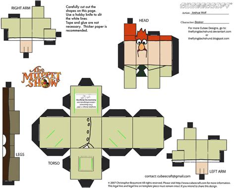 Cubee Papercraft - muppets 3 beaker cubee by theflyingdachshund on deviantart
