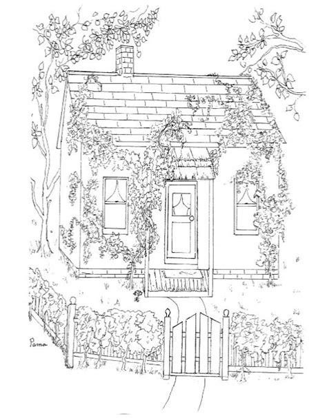 cottage house coloring page country cottage coloring pages sketch coloring page