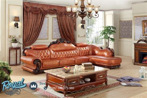 Kursi Leter L sofa tamu mewah leter l sudut leather wooden frame ukiran jepara terbaru royal furniture indonesia