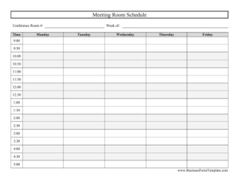 6 Conference Room Schedule Templates Excel Templates Conference Room Booking Template