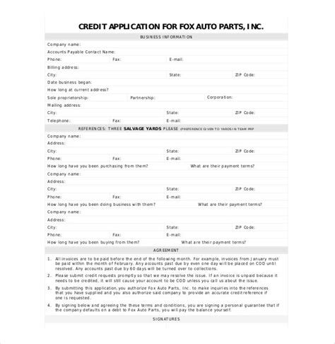 Credit Application Form Template Doc doc 647873 credit application forms 40 free credit
