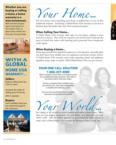 global home usa home warranty 1 year