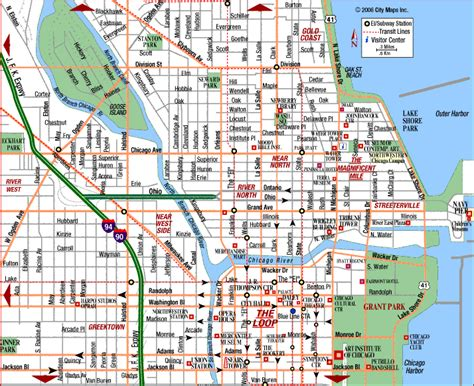 map of downtown chicago chicago map il