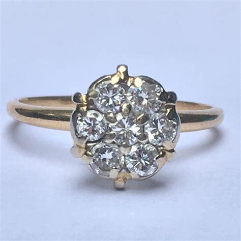 vintage diamond cluster ring 14k yellow gold floral design
