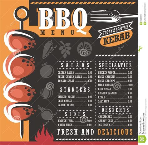 bbq restaurant menu design stock vector image 68285098
