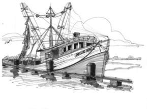 Seashore Home Decor nellie mae fishing boat drawing by richard wambach