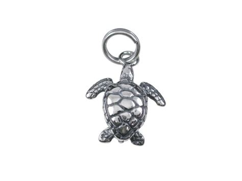 sterling silver 12mm turtle charm with split ring
