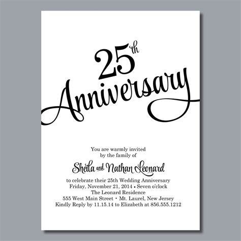 25th birthday card templates 25th wedding anniversary invites 25th wedding