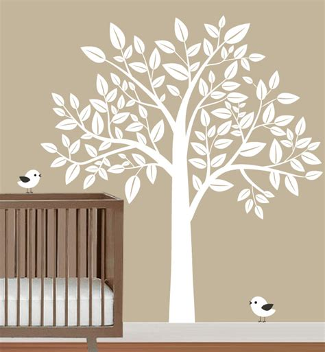 wall decals tree nursery nursery wall decal white tree with birds wall by fancywalls