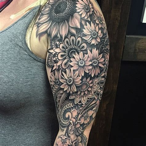 mandala flowery sleeve best tattoo design ideas