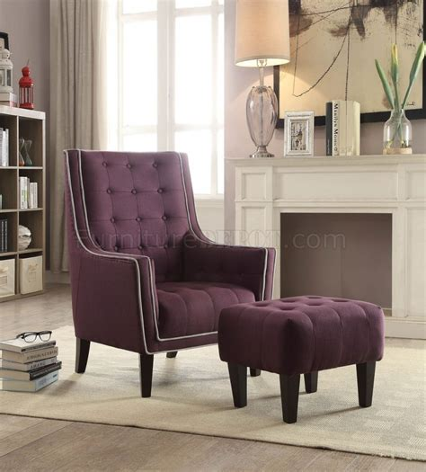 Ophelia Set ophelia set of accent chair ottoman 59630 in purple by acme