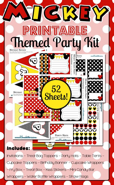 mickey mouse disney inspired birthday printables big products homeketeers