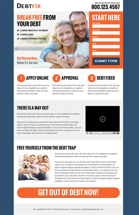 lead capture page templates free top 20 debt landing page design for your debt relief