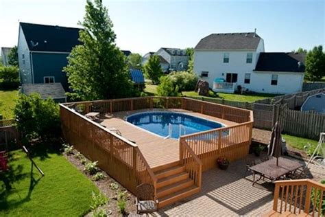 wood pool deck large wood pool deck for oval pool in mchenry county built