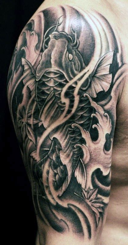 black and grey koi dragon tattoo koi fish tattoos for men ideas and inspiration for guys