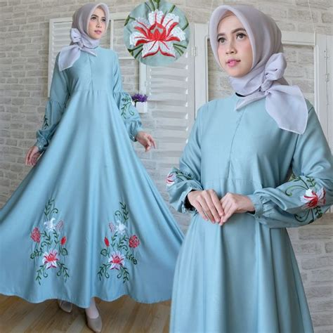 Rara Maxi Dress Gamis Busui Gamis Tosca Pink Murah maxi dress baloteli bordir c039 gamis modern model terbaru