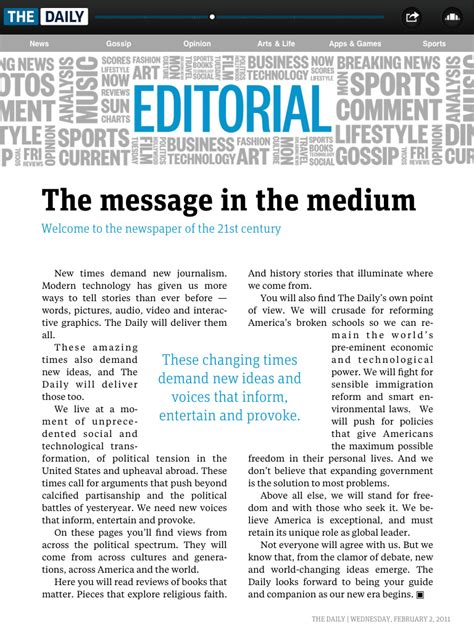 newspaper editorial template the daily fonts in use