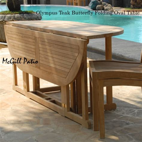 Teak Patio Folding Table Olympus Oval Teak Patio Table