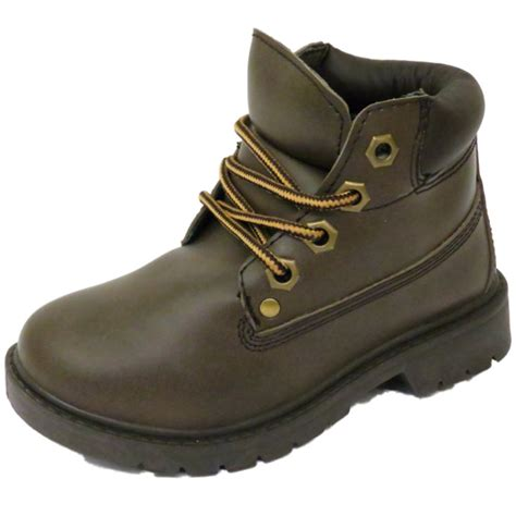 winter school shoes boys childrens brown winter warm lace up ankle boots