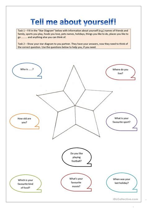 printable quiz about yourself tell me about yourself worksheet free esl printable