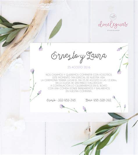 Hochzeitseinladung Olive by Invitacion De Boda Personalizada Acuarela Doce Leguas