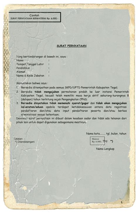 contoh surat pernyataan diri 7 hontoh
