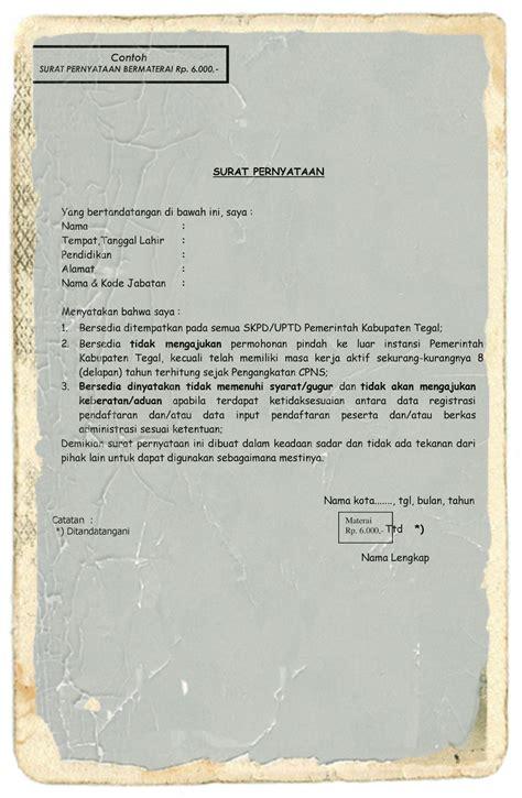 contoh surat pernyataan bersedia ditempatkan di seluruh skpd murad
