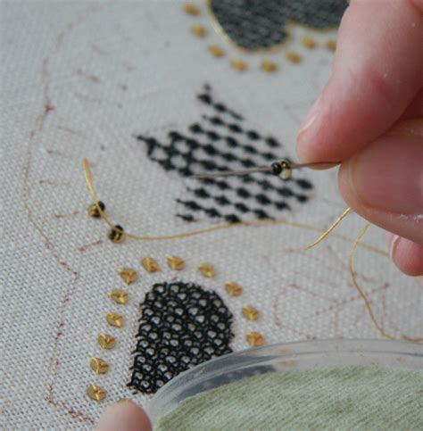 how to bead on fabric how to attach paillettes and the unbroken