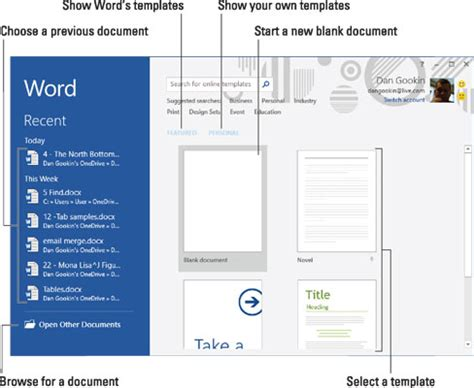 Navigate To The Office by How To Navigate The Start Screen In Word 2016 Dummies