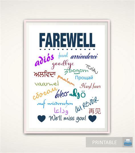 printable farewell poster goodbye gift going away gift goodbye print farewell print