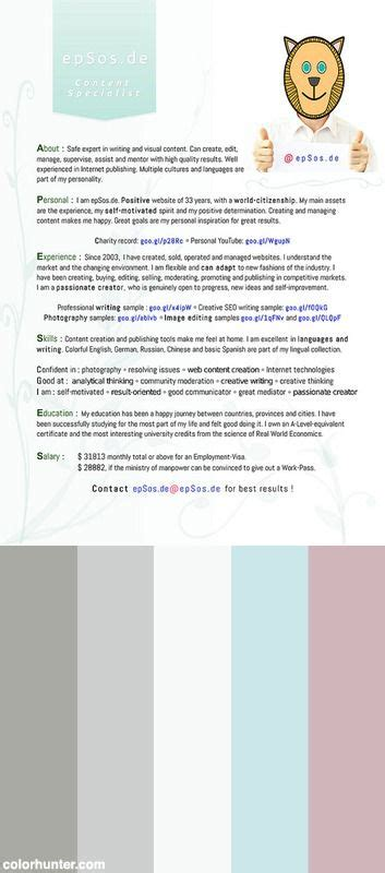 color resume best cv design for r 233 sum 233 of creative color scheme