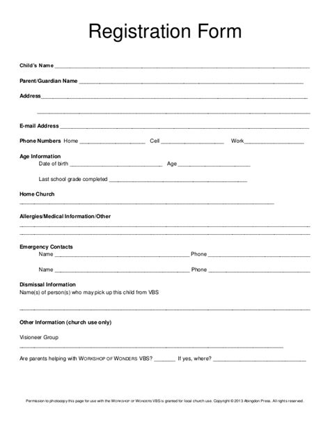 Registration Form Vbs Church Registration Form Template