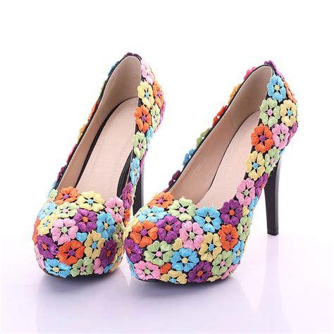 colorful lace flower shoes 12cm fashion wedding shoes