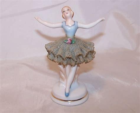 ballerina  blue porcelain lace figurine occupied japan