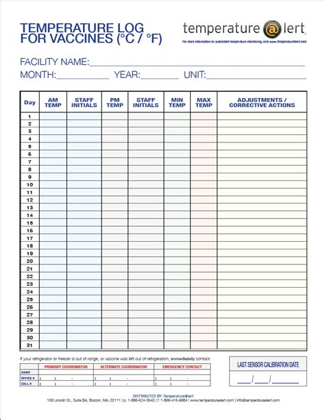 medical refrigerator temperature log sheet template best