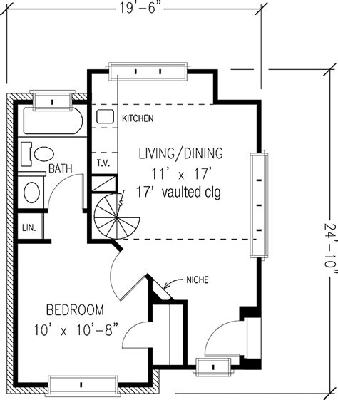 one bedroom house plan one bedroom english cottage hwbdo69973 english cottage house plan from