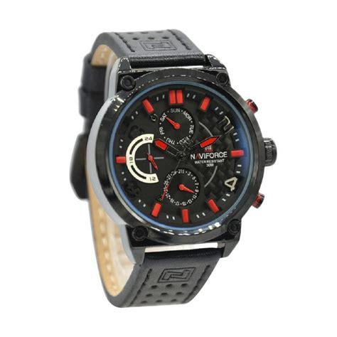 Jam Tangan Keren Pria Naviforce 9068 Leather Black Crono Original jual naviforce leather jam tangan pria hitam jarum